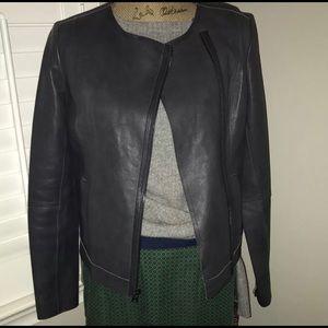 Vince scuba leather jacket, size large, euc